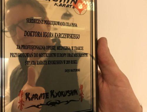 Doktor Igor Karczewski jako opiekun medyczny Karate Kyokushin Orzesze